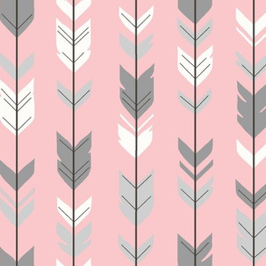 Arrow Feathers- pink/grey/white
