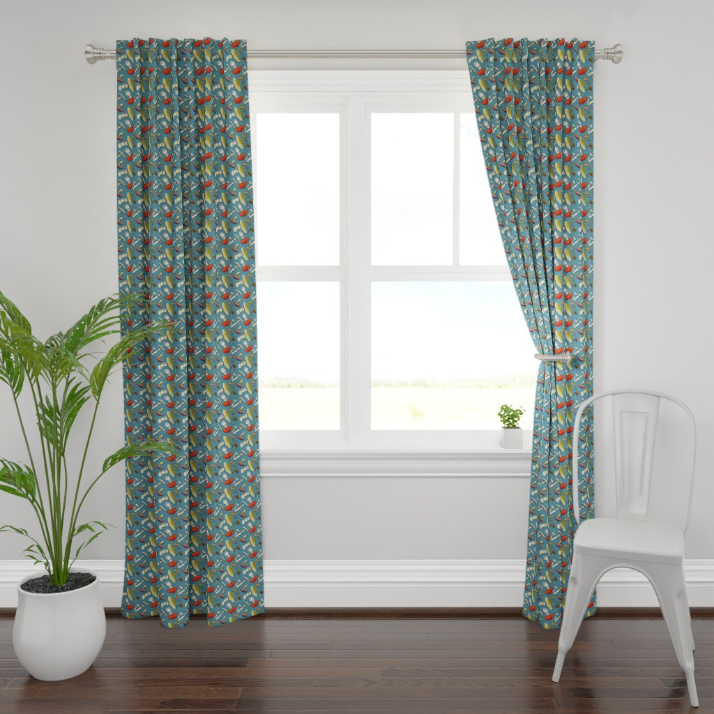 Plymouth Curtain Panel featuring Mushroom Mayhem - Blue by katymakesthings