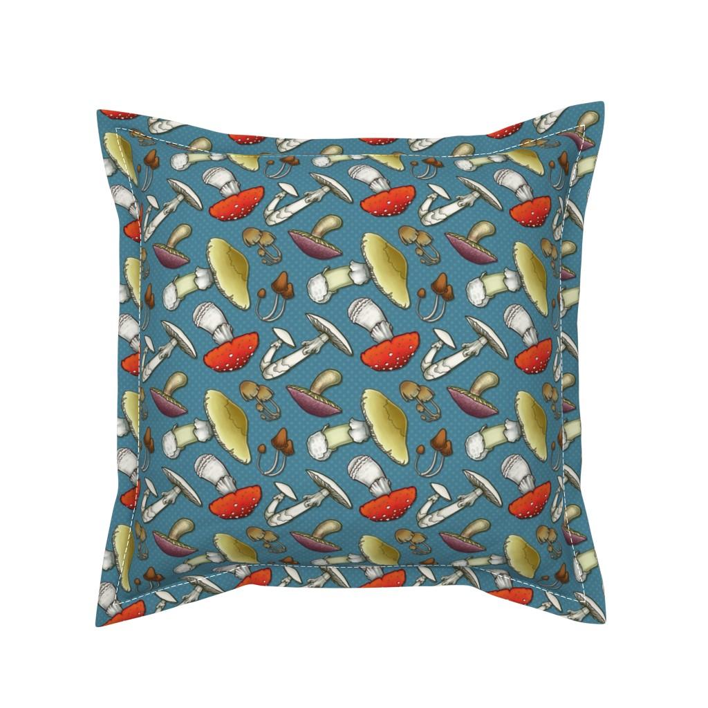 Serama Throw Pillow featuring Mushroom Mayhem - Blue by katymakesthings