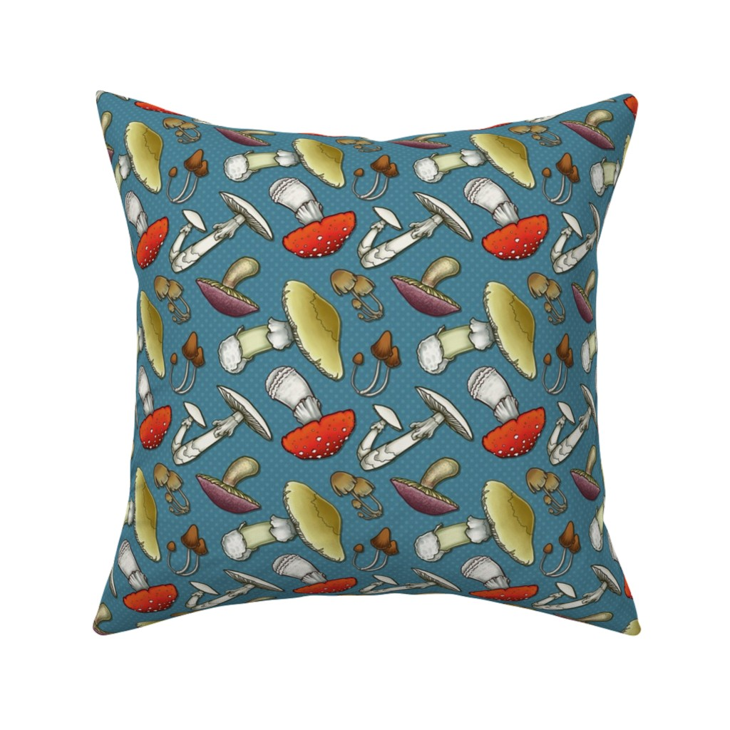 Catalan Throw Pillow featuring Mushroom Mayhem - Blue by katymakesthings