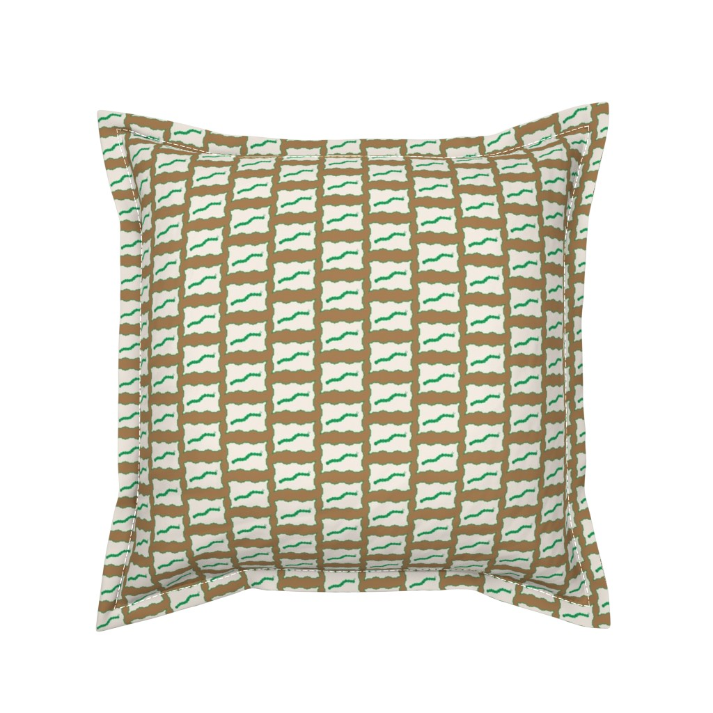 Serama Throw Pillow featuring Bordered Caterpillar Madness in brown and green by mommy_brain_art