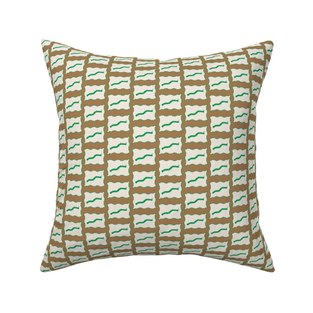 Catalan Throw Pillow featuring Bordered Caterpillar Madness in brown and green by mommy_brain_art