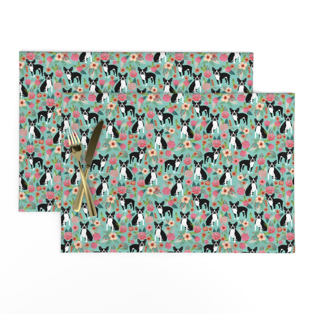 Lamona Cloth Placemats featuring boston terrier fabric sweet vintage florals flowers dog pet design mint girls spring dog by petfriendly
