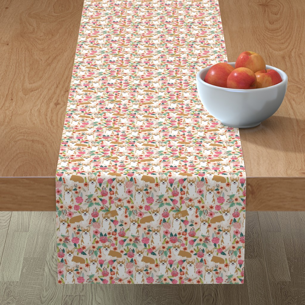 Minorca Table Runner featuring corgi florals pet dog welsh corgi pembroke corgi flowers girls pastel vintage florals spring dog fabric print by petfriendly