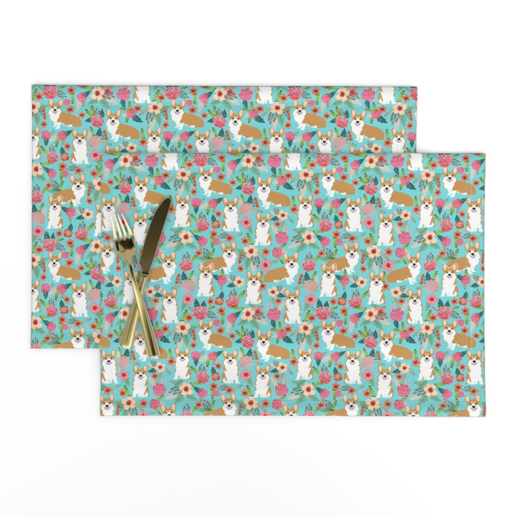 Lamona Cloth Placemats featuring corgi pet dog sweet corgis dog puppy pet fabric featuring corgi dog flowers florals spring girls sweet flowers dog by petfriendly