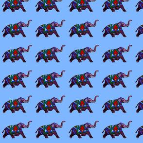 Decorative Purple Indian Elephant on Blue background