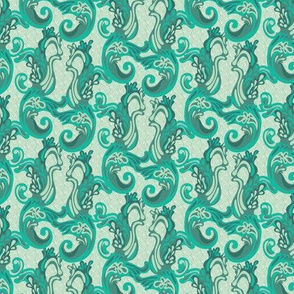 16-02q Sea Horse Green Waves Water Ocean Summer Vacation Mint Seafoam_Miss Chiff Designs