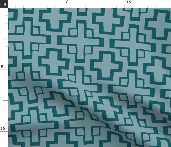 Fabric by the Yard lrg scale mosaic pool tile in pool blue