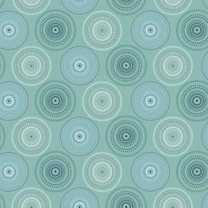 16-02p Small Hypnotic Circles ocean blue green jade mint _Miss Chiff Designs