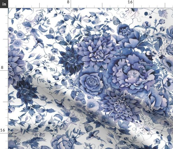 Blue And White Floral Spoonflower