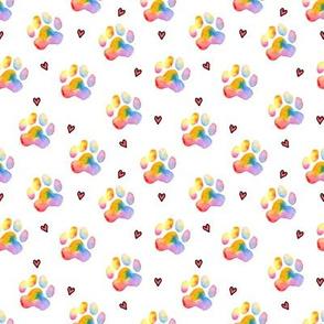 "Rainbow Paw Prints - approx 1"""