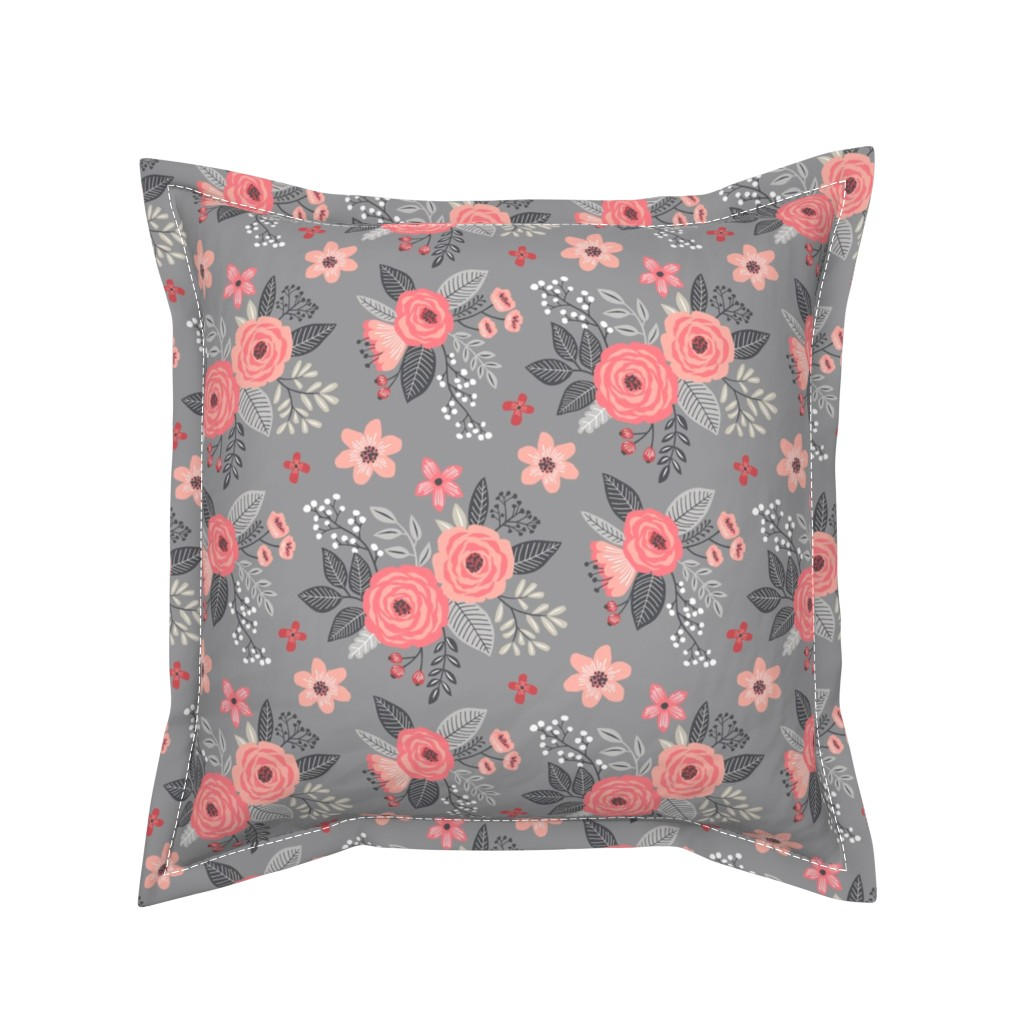Serama Throw Pillow featuring Vintage Antique Floral Flowers Peach on Grey by caja_design