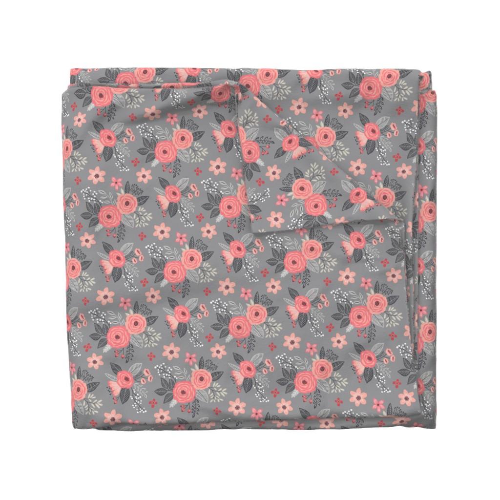 Wyandotte Duvet Cover featuring Vintage Antique Floral Flowers Peach on Grey by caja_design
