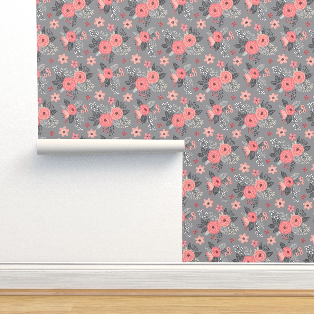 Isobar Durable Wallpaper featuring Vintage Antique Floral Flowers Peach on Grey by caja_design