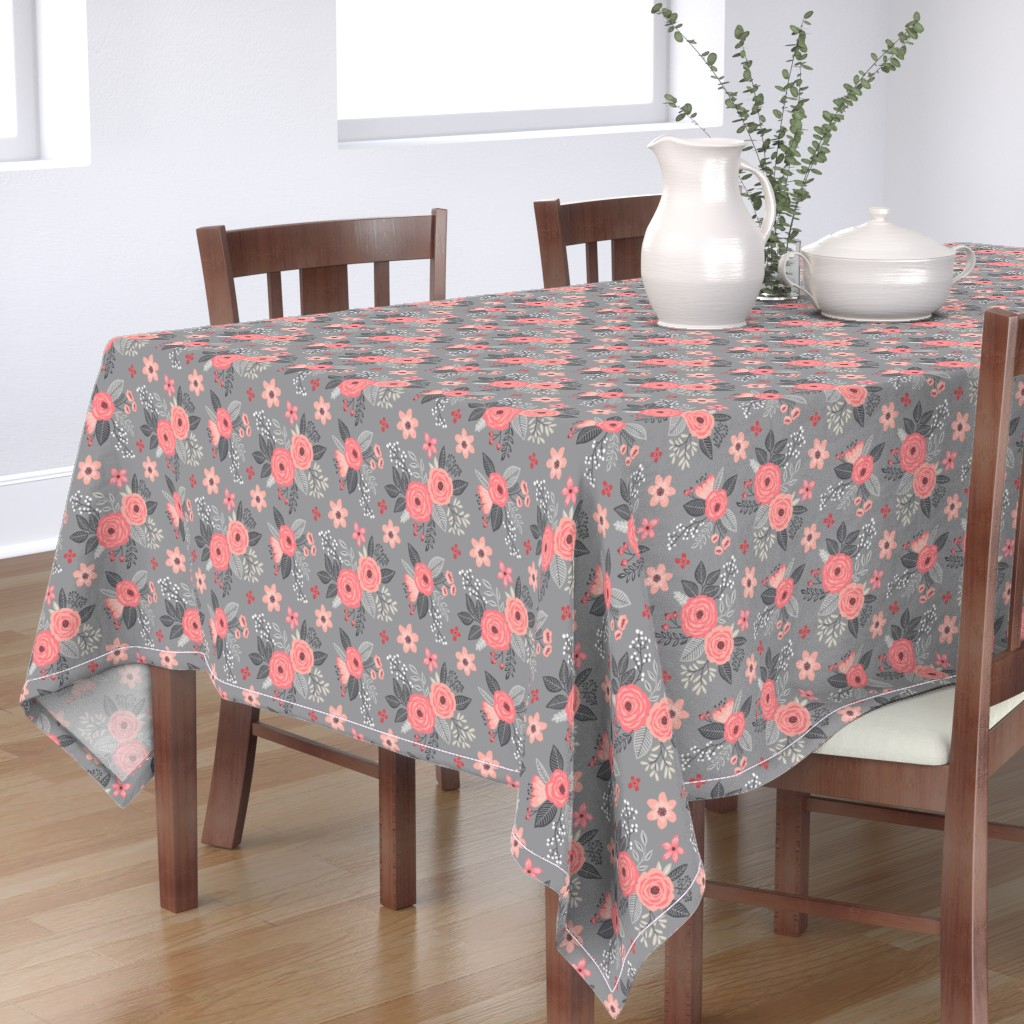 Bantam Rectangular Tablecloth featuring Vintage Antique Floral Flowers Peach on Grey by caja_design