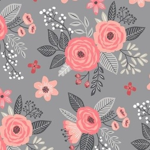 Vintage Antique Floral Flowers Peach on Grey