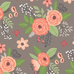 Vintage Antique Floral Flowers Peach