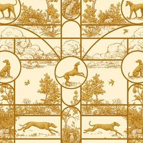 Autumn Gold Stained Glass Small, Toile Greyhounds