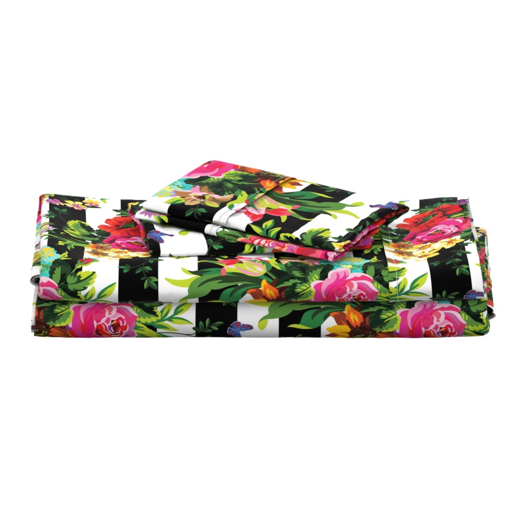 """Langshan Full Bed Set featuring 18"""" Floral Pop Stripes - Large Print by shopcabin"""
