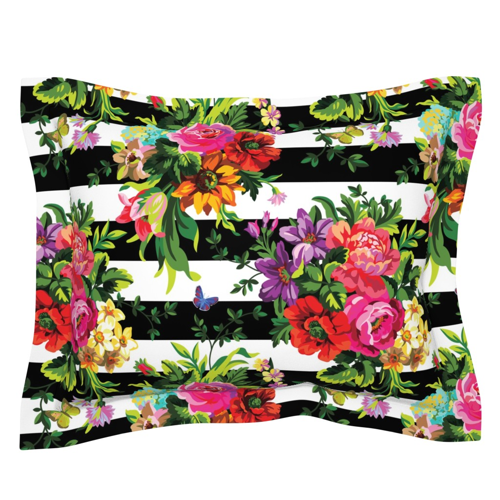 """Sebright Pillow Sham featuring 18"""" Floral Pop Stripes - Large Print by shopcabin"""