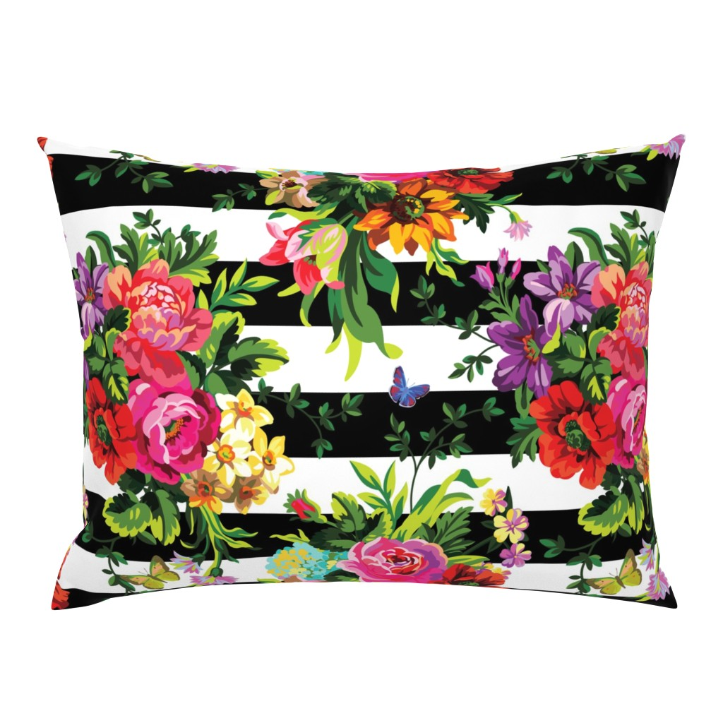 "Campine Pillow Sham featuring 18"" Floral Pop Stripes - Large Print by shopcabin"