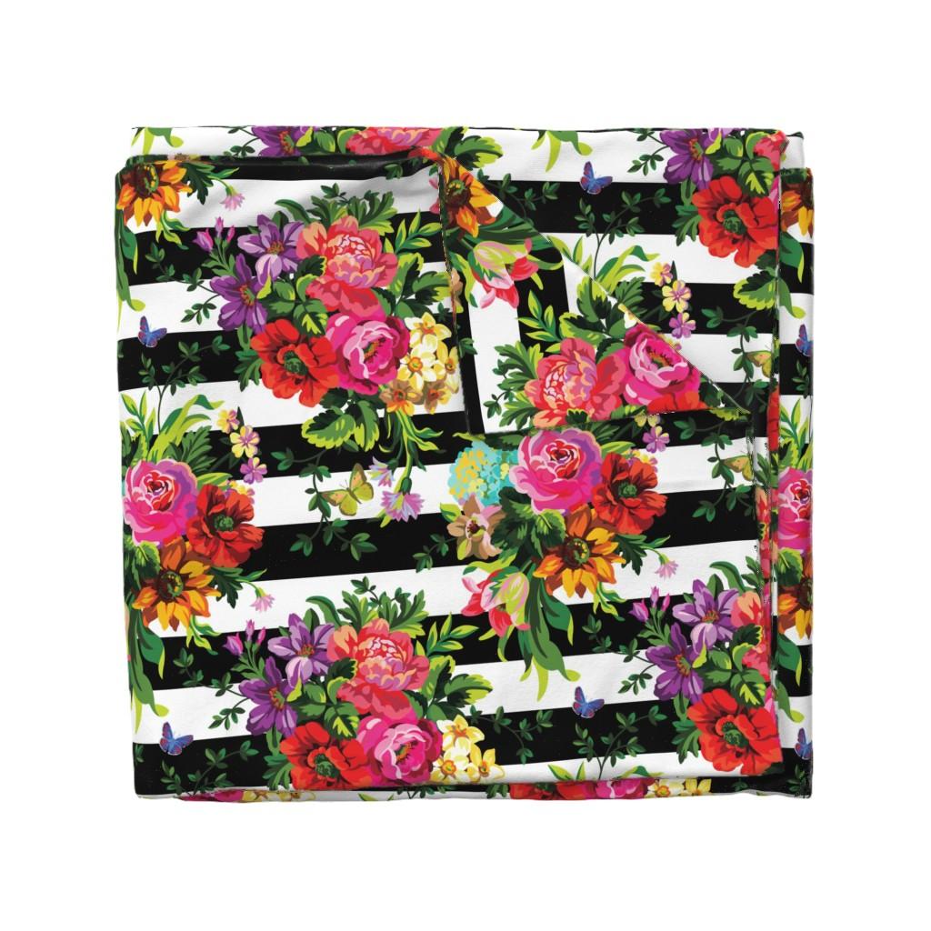 "Wyandotte Duvet Cover featuring 18"" Floral Pop Stripes - Large Print by shopcabin"