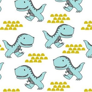 T-Rex Dinos in Turquoise