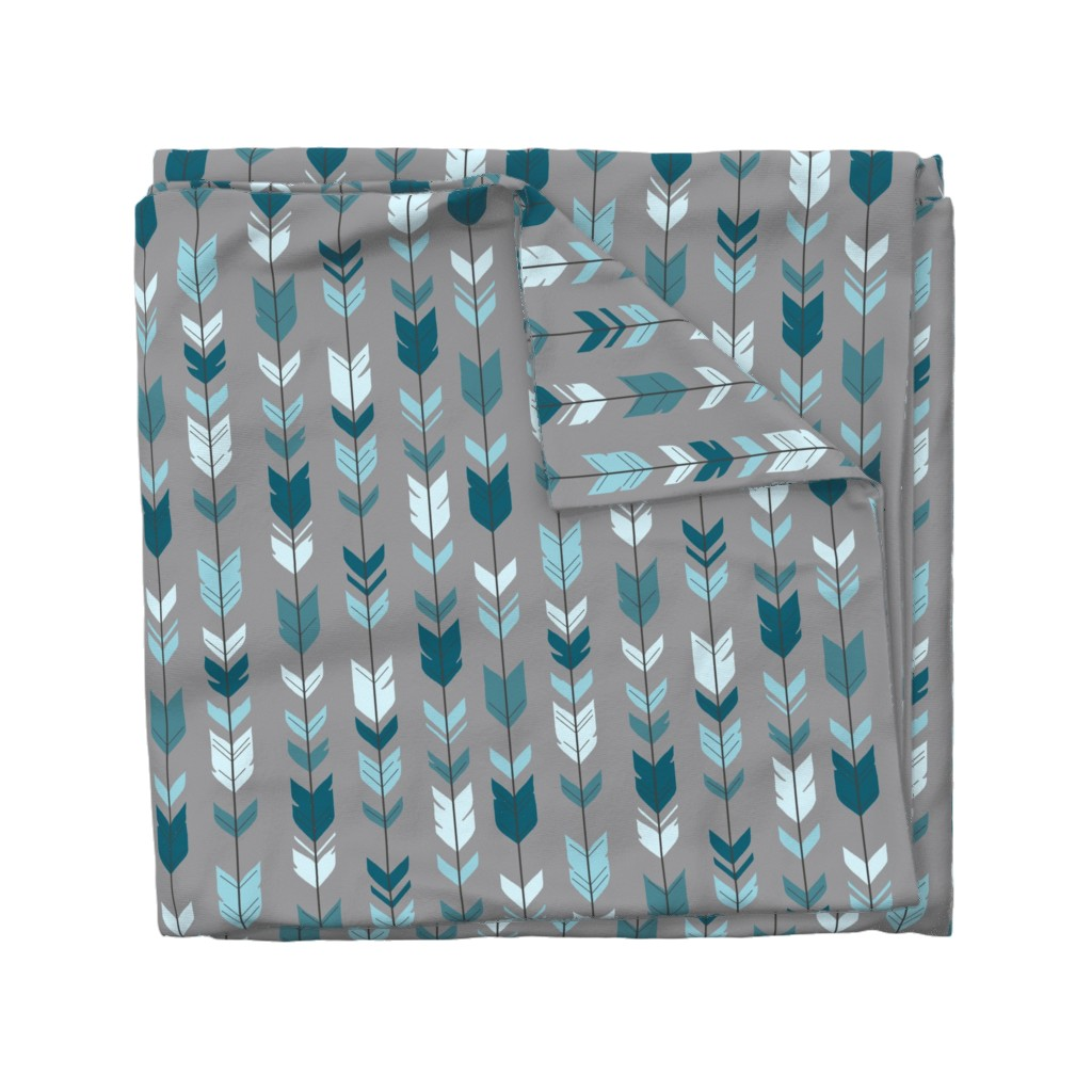 Wyandotte Duvet Cover featuring Arrow Feather- Teal/Blue/Grey- Winslow- Baby boy Woodland Nursery by sugarpinedesign