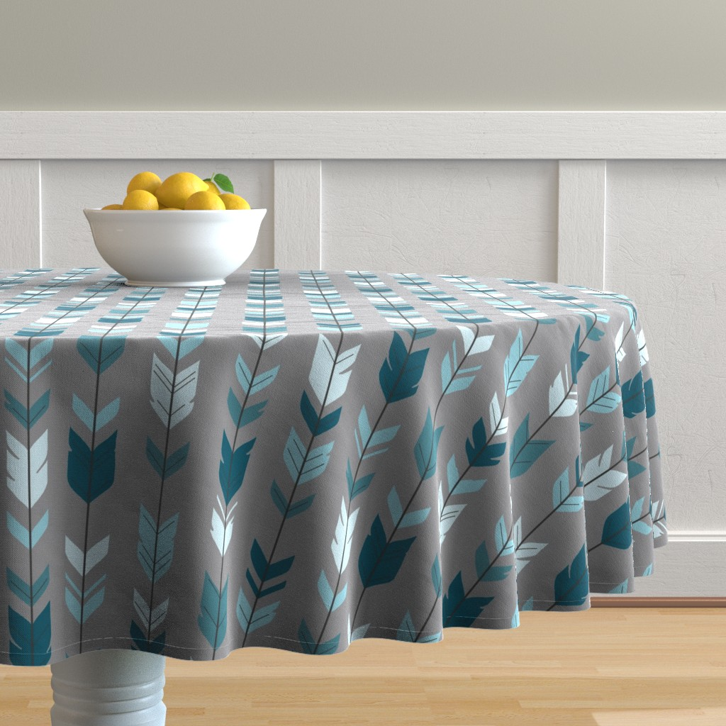 Malay Round Tablecloth featuring Arrow Feather- Teal/Blue/Grey- Winslow- Baby boy Woodland Nursery by sugarpinedesign
