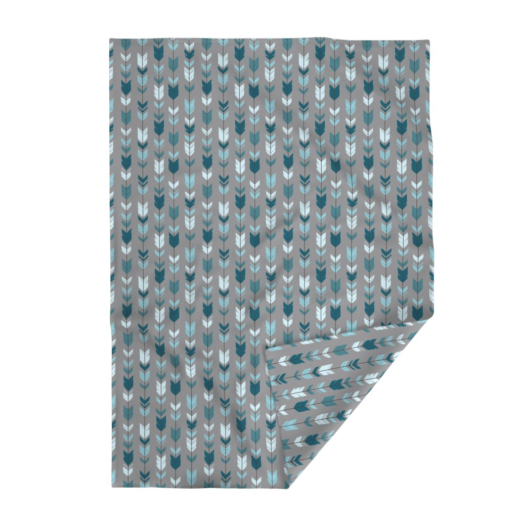 Lakenvelder Throw Blanket featuring Arrow Feather- Teal/Blue/Grey- Winslow- Baby boy Woodland Nursery by sugarpinedesign