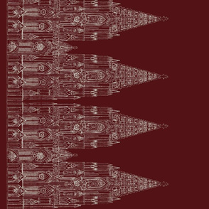 Gothic Cathedral Border (Maroon/Offwhite)