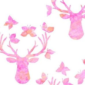 Watercolor Butterfly Buck Pink