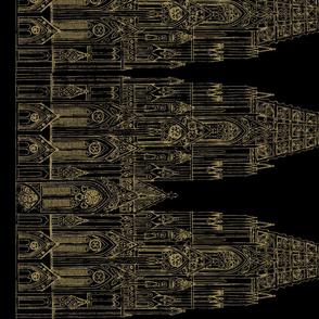 Gothic Cathedral Border (Black/OldGold)