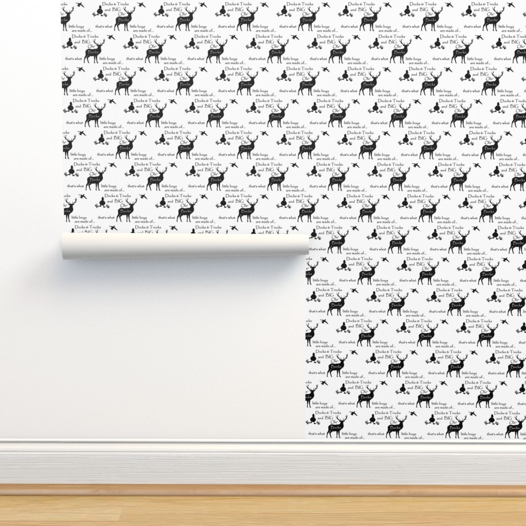 Isobar Durable Wallpaper featuring Ducks Bucks & Trucks //  black on white by buckwoodsdesignco