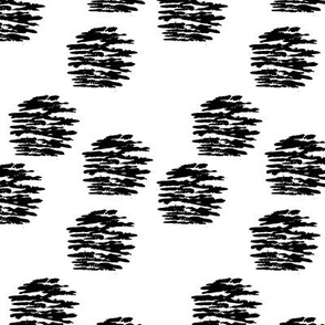Geometric raw brush stroke circle abstract texture fabric dot black and white