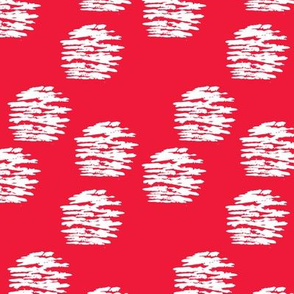 Geometric raw brush stroke circle abstract texture fabric dot red white