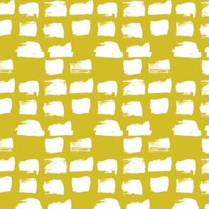 Scandinavian style raw brush strokes geometric abstract design mustard yellow