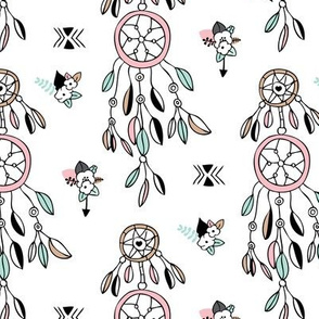 Bohemian dreamcatcher with feathers and flowers girls indian summer design pink mint