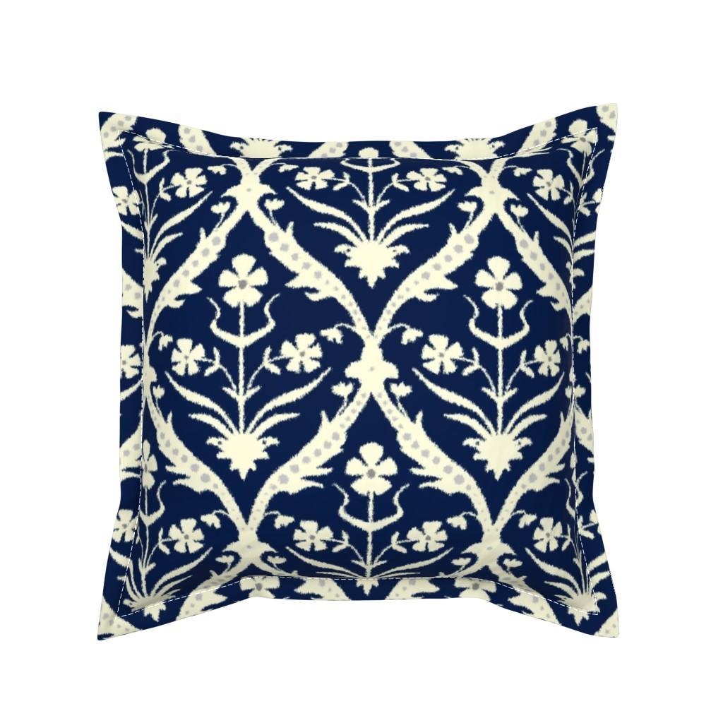 Serama Throw Pillow featuring Iravan trellis ikat by scrummy