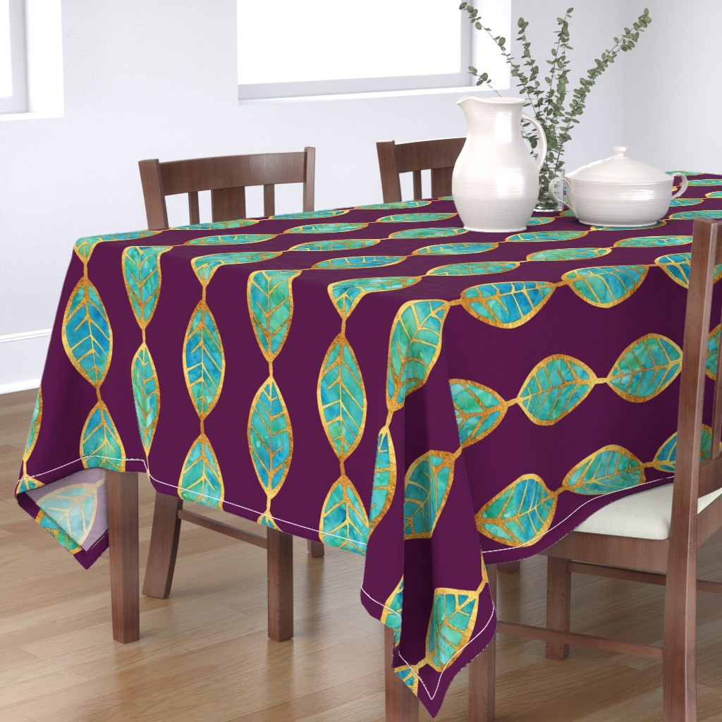Bantam Rectangular Tablecloth featuring Aqua Gold Foil Leaves on Rich Purple by erinmorris