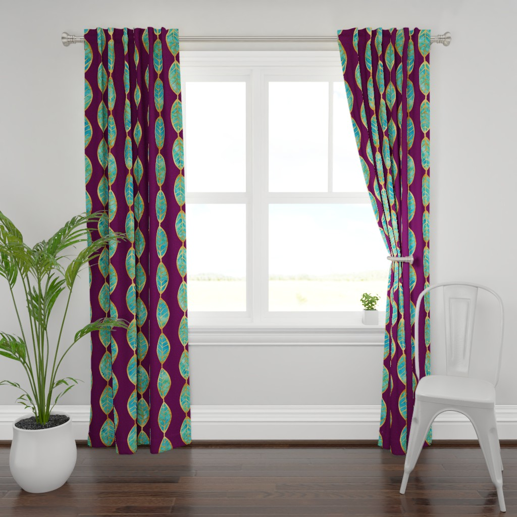 Plymouth Curtain Panel featuring Aqua Gold Foil Leaves on Rich Purple by erinmorris