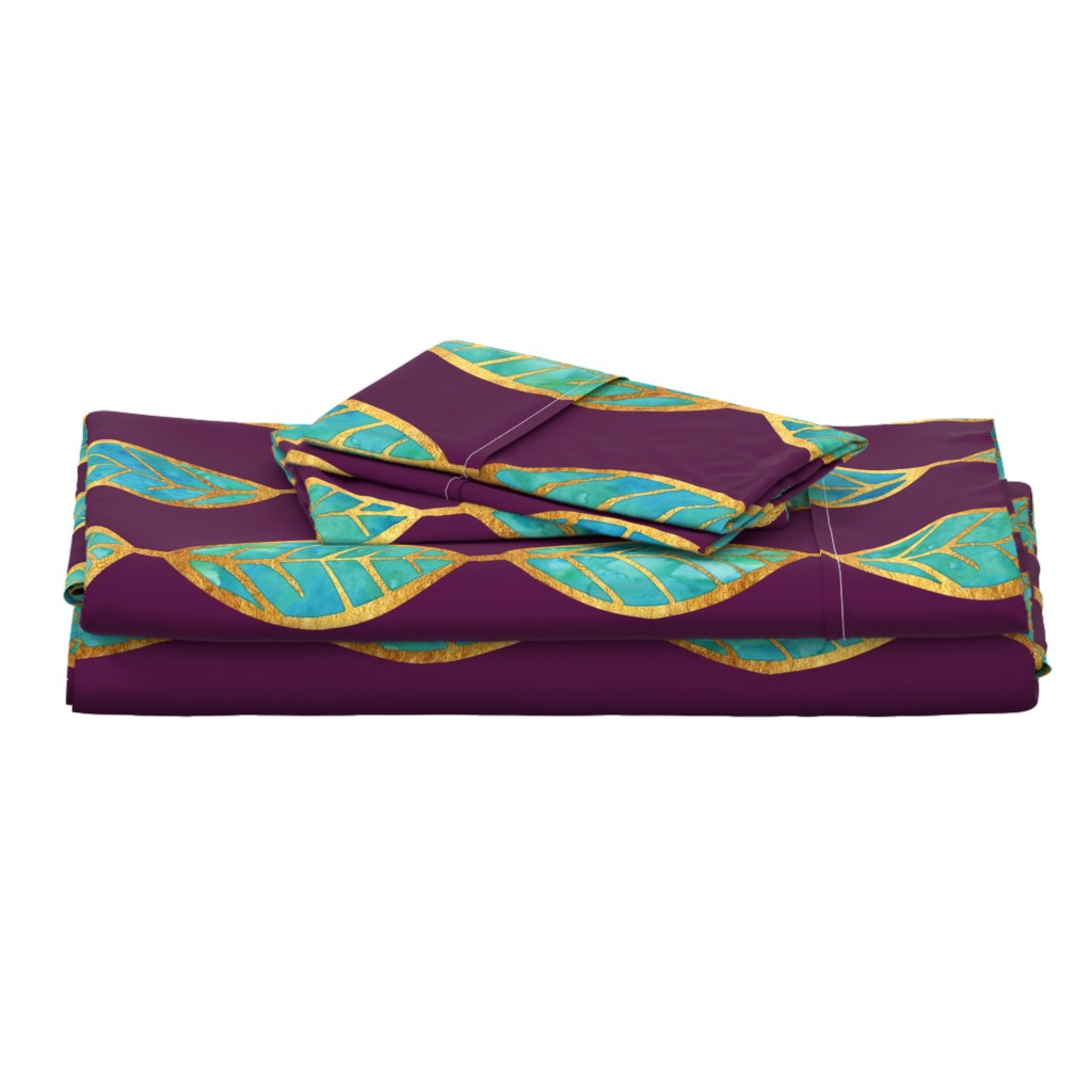 Langshan Full Bed Set featuring Aqua Gold Foil Leaves on Rich Purple by erinmorris