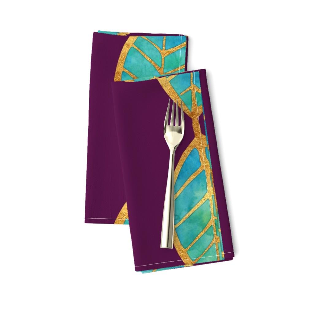 Amarela Dinner Napkins featuring Aqua Gold Foil Leaves on Rich Purple by erinmorris