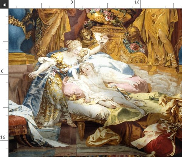 Fabric by the Yard Cupid Psyche neo classical fairy tales story Greek Roman  baroque rococo bedrooms flowers statues gods palace sleeping vintage