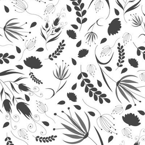 Floral pattern. Black and white