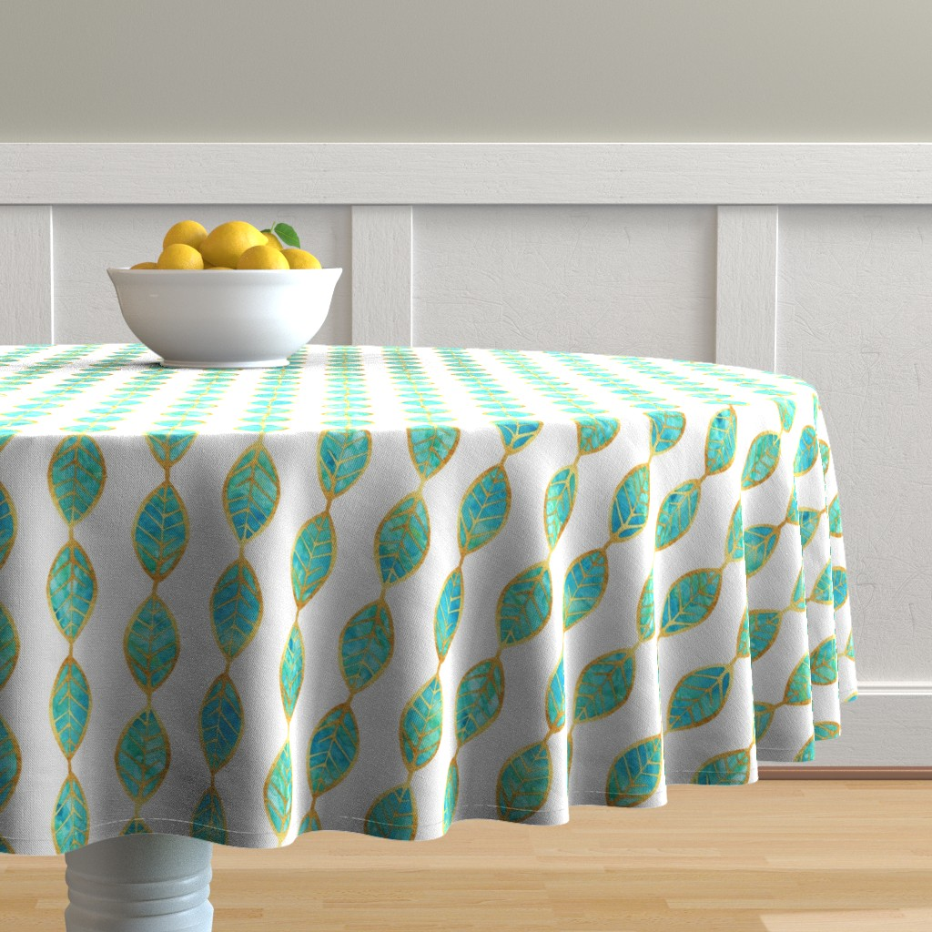 Malay Round Tablecloth featuring Aqua Gold Foil Leaves on White by erinmorris