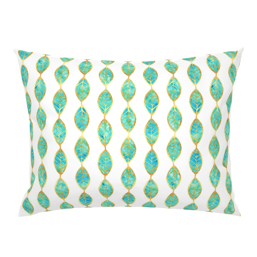 Campine Pillow Sham featuring Aqua Gold Foil Leaves on White by erinmorris