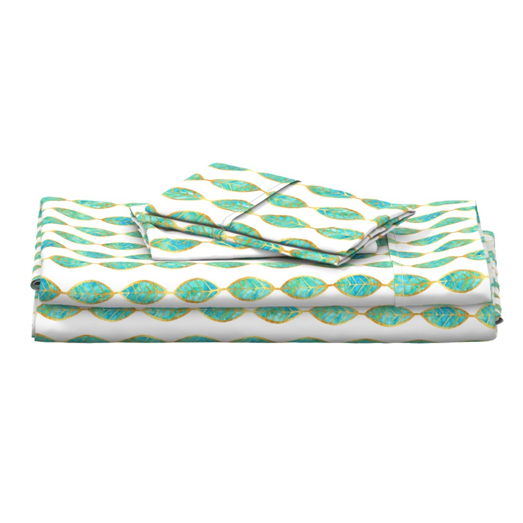 Langshan Full Bed Set featuring Aqua Gold Foil Leaves on White by erinmorris