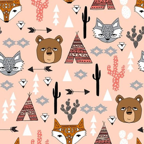 southwest // baby nursery cactus bear fox arrows tipi teepee kids southwest blush nursery girls