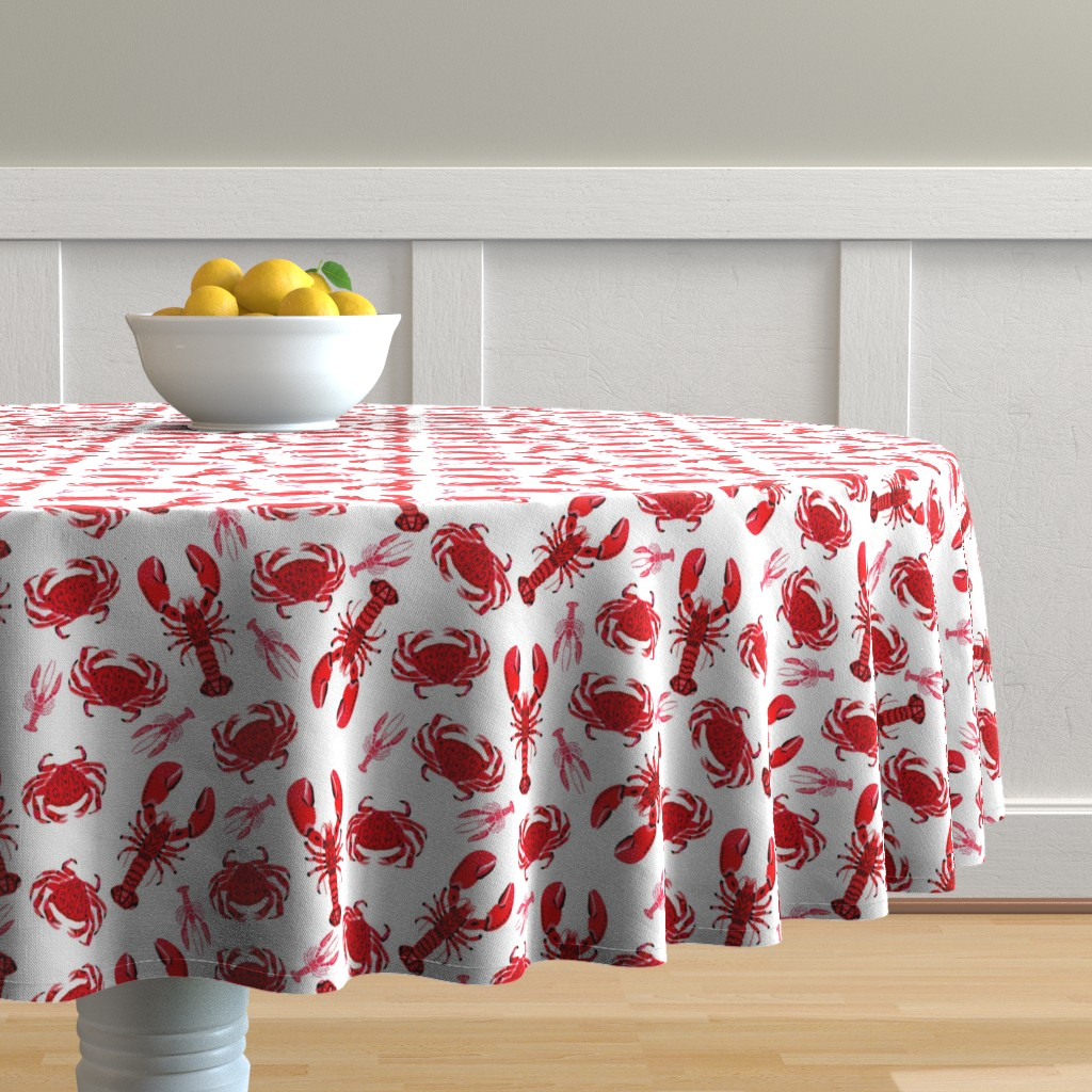 Malay Round Tablecloth featuring crab and lobster // white crabs lobsters nautical fish ocean sea red pink summer fishing by andrea_lauren